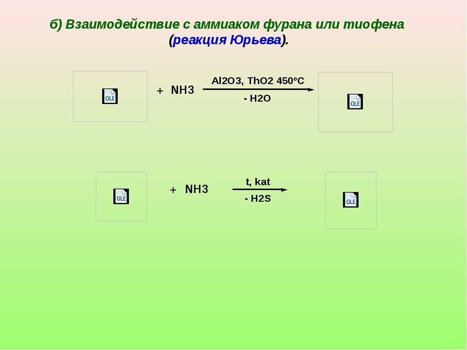 + NH3 - H2O Al2O3, ThO2 450ºC + NH3 - H2S t, kat б) Взаимодействие с аммиаком...