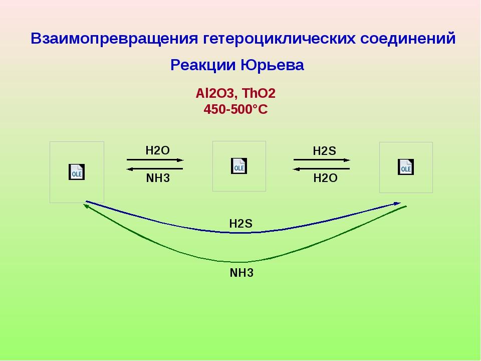 H2O H2O H2S NH3 H2S NH3 Взаимопревращения гетероциклических соединений Реакц...