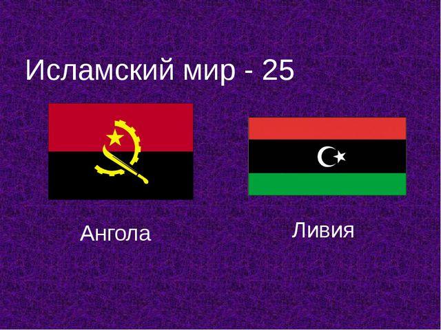 Исламский мир - 25 Ангола Ливия