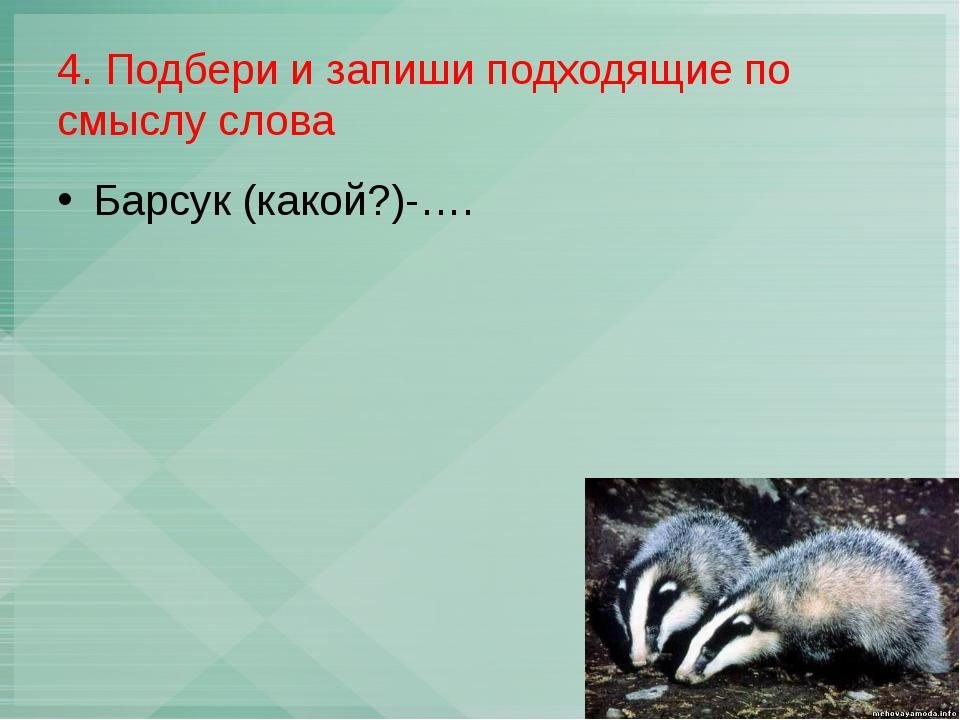 4. Подбери и запиши подходящие по смыслу слова Барсук (какой?)-….