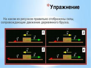 Упражнение На каком из рисунков правильно отображены силы, сопровождающие дви