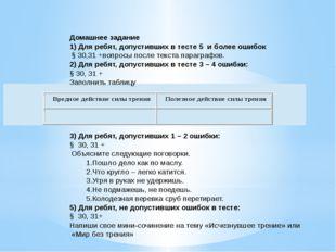 Домашнее задание 1) Для ребят, допустивших в тесте 5 и более ошибок § 30,31 +