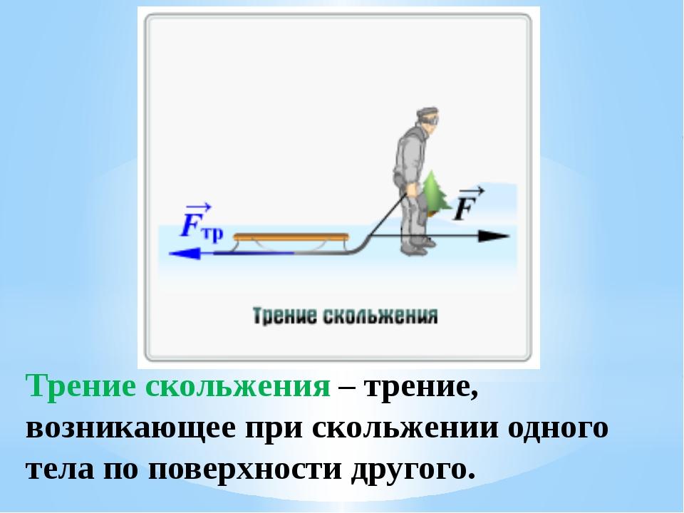 Трение скольжения – трение, возникающее при скольжении одного тела по поверхн...