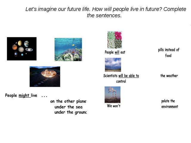 Let's imagine our future life. How will people live in future? Complete the...
