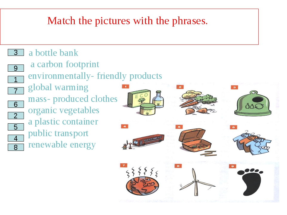 Match the pictures with the phrases. a bottle bank __ a carbon footprint __ e...