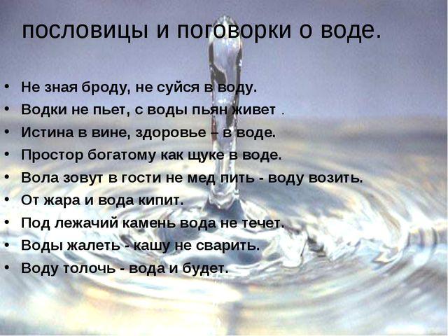 пословицы и поговорки о воде. Не зная броду, не суйся в воду. Водки не пьет,...