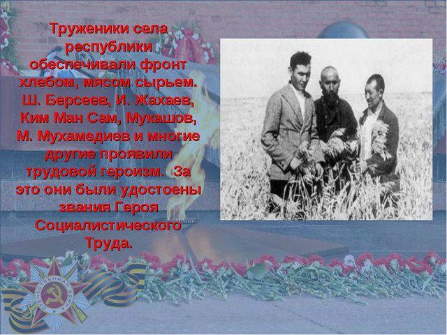 Труженики села республики обеспечивали фронт хлебом, мясом сырьем. Ш. Берсее...