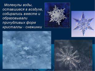 Молекулы воды, оставшиеся в воздухе, собирались вместе и образовывали причуд