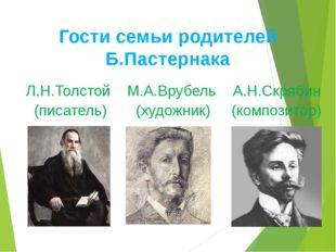 Гости семьи родителей Б.Пастернака Л.Н.Толстой М.А.Врубель А.Н.Скрябин (писат