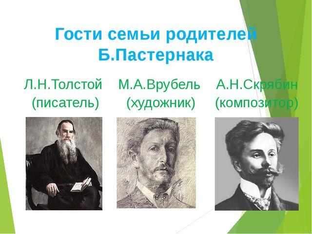 Гости семьи родителей Б.Пастернака Л.Н.Толстой М.А.Врубель А.Н.Скрябин (писат...