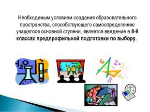 Необходимым условием создания образовательного пространства, способствующего