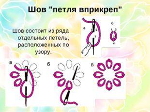 """Шов """"петля вприкреп"""" Шов состоит из ряда отдельных петель, расположенных по у"""