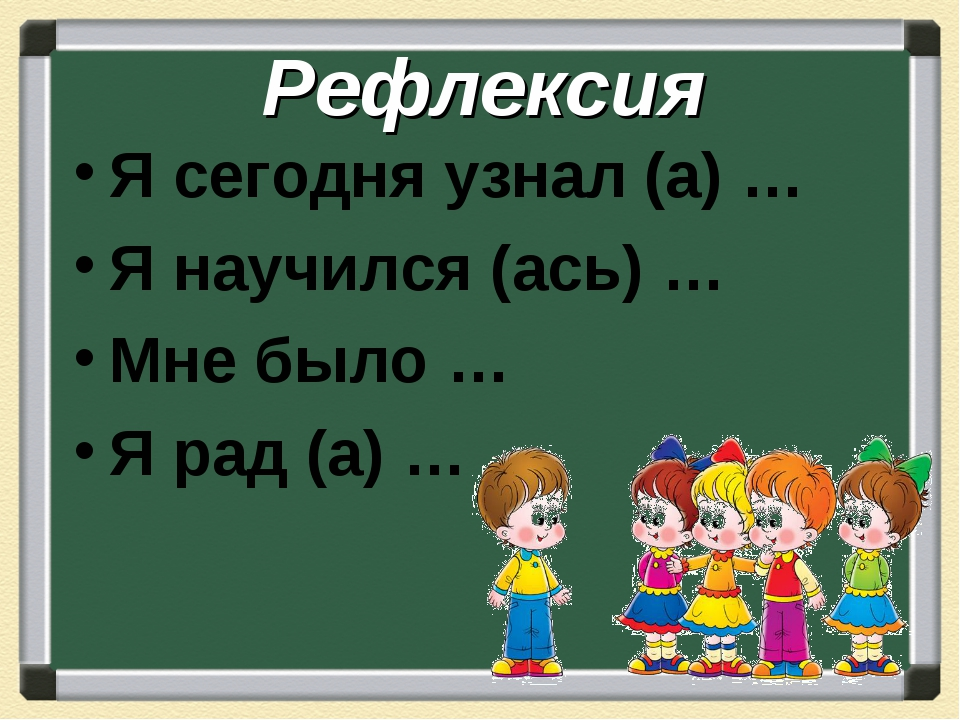 Рефлексия Я сегодня узнал (а) … Я научился (ась) … Мне было … Я рад (а) …