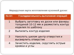Маршрутная карта изготовления кухонной доски: №п/п Последовательность выполне