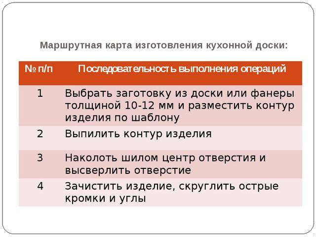 Маршрутная карта изготовления кухонной доски: №п/п Последовательность выполне...