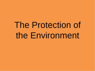 The Protection of the Environment
