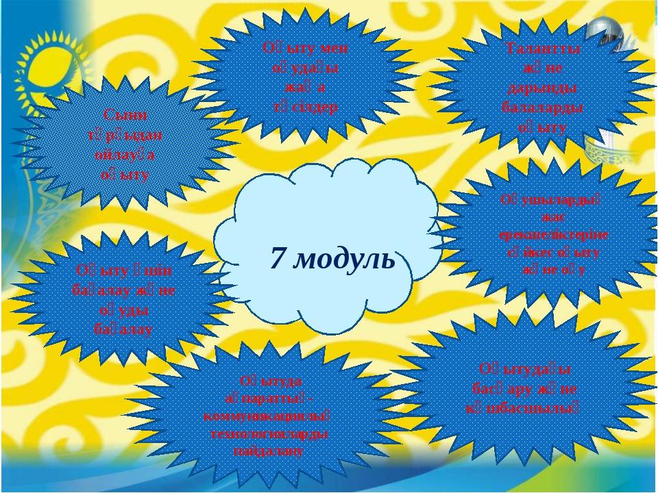 7 модуль Сыни тұрғыдан ойлауға оқыту Оқыту үшін бағалау және оқуды бағалау...