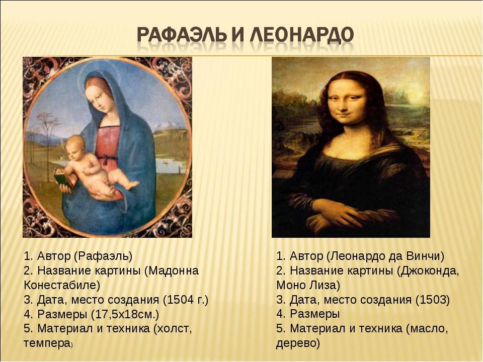 1. Автор (Рафаэль) 2. Название картины (Мадонна Конестабиле) 3. Дата, место с...