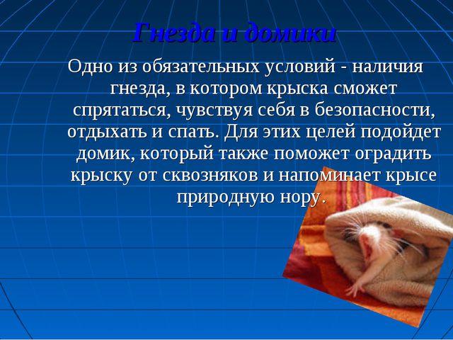 Гнезда и домики Одно из обязательных условий - наличия гнезда, в котором крыс...
