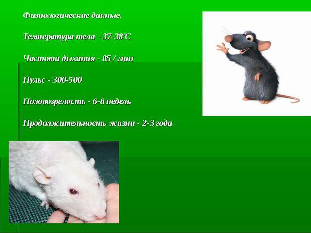 Физиологические данные. Температура тела - 37-38'С Частота дыхания - 85 / мин...