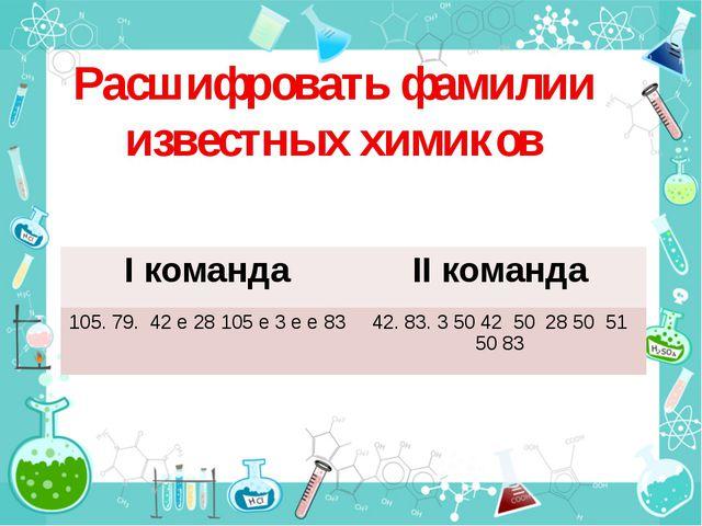Расшифровать фамилии известных химиков Iкоманда IIкоманда 105. 79. 42 е 28 10...