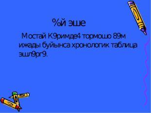 %й эше Мостай К9римде4 тормошо 89м ижады буйынса хронологик таблица эшл9рг9.