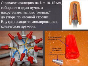 Снимают изоляцию на L = 10-15 мм, собирают в один пучок и накручивают на них