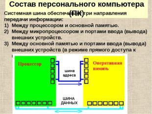 Состав персонального компьютера (ПК) Системная шина обеспечивает три направле