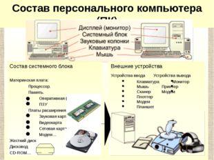 Состав системного блока Материнская плата: Процессор. Память. Оперативна