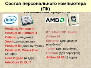 Системный блок: процессоры Pentium, Pentium-II, Pentium-III, Pentium 4 Celero