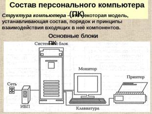 Состав персонального компьютера (ПК) Структура компьютера – это некоторая мод