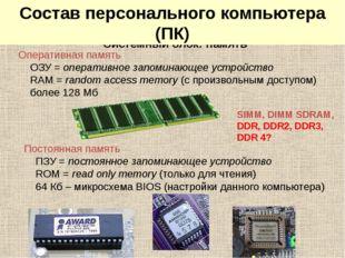 Системный блок: память SIMM, DIMM SDRAM, DDR, DDR2, DDR3, DDR 4? Оперативная