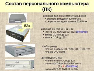Системный блок: дисководы дисковод для гибких магнитных дисков скорость враще