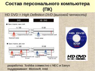 HD DVD-диски HD DVD = High Definition DVD (высокой четкости) разработка: Tosh