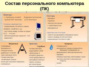 Устройства вывода информации Мониторы с электронно-лучевой Жидкокристаллическ