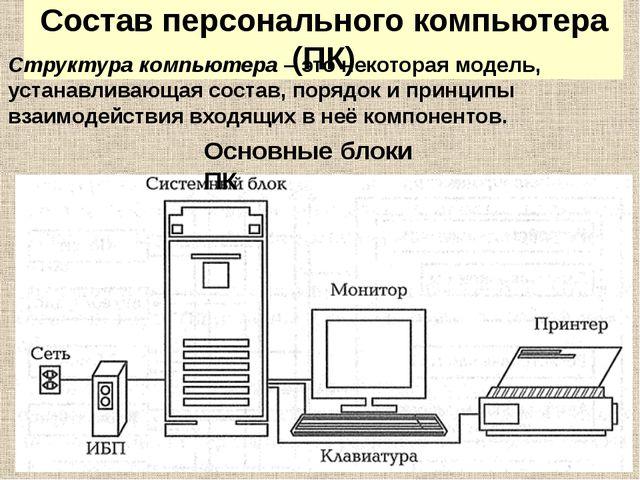 Состав персонального компьютера (ПК) Структура компьютера – это некоторая мод...