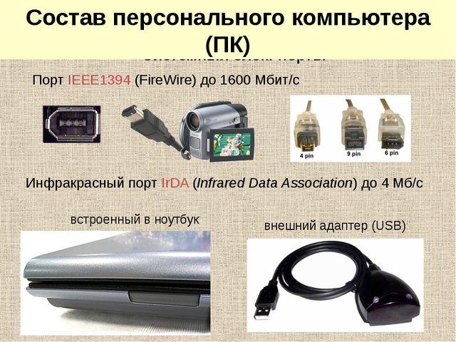 Системный блок: порты Порт IEEE1394 (FireWire) до 1600 Мбит/c Инфракрасный п...