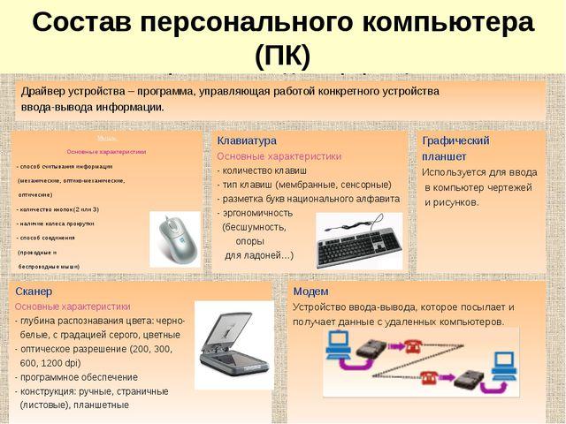 Мышь Основные характеристики - способ считывания информации (механические, о...