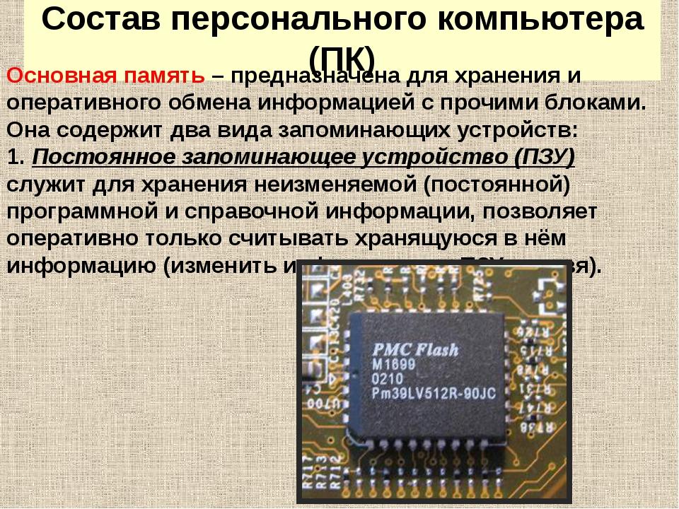 Состав персонального компьютера (ПК) Основная память – предназначена для хран...