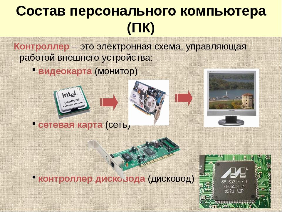 Системный блок: контроллеры Контроллер – это электронная схема, управляющая...
