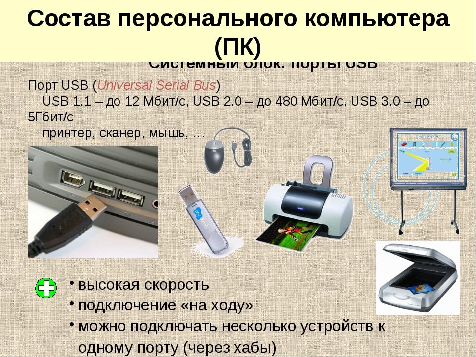 Системный блок: порты USB Порт USB (Universal Serial Bus) USB 1.1 – до 12 Мби...