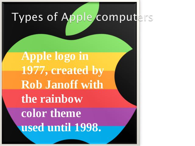 Apple logo in 1977, created by Rob Janoff with the rainbow color theme used u...