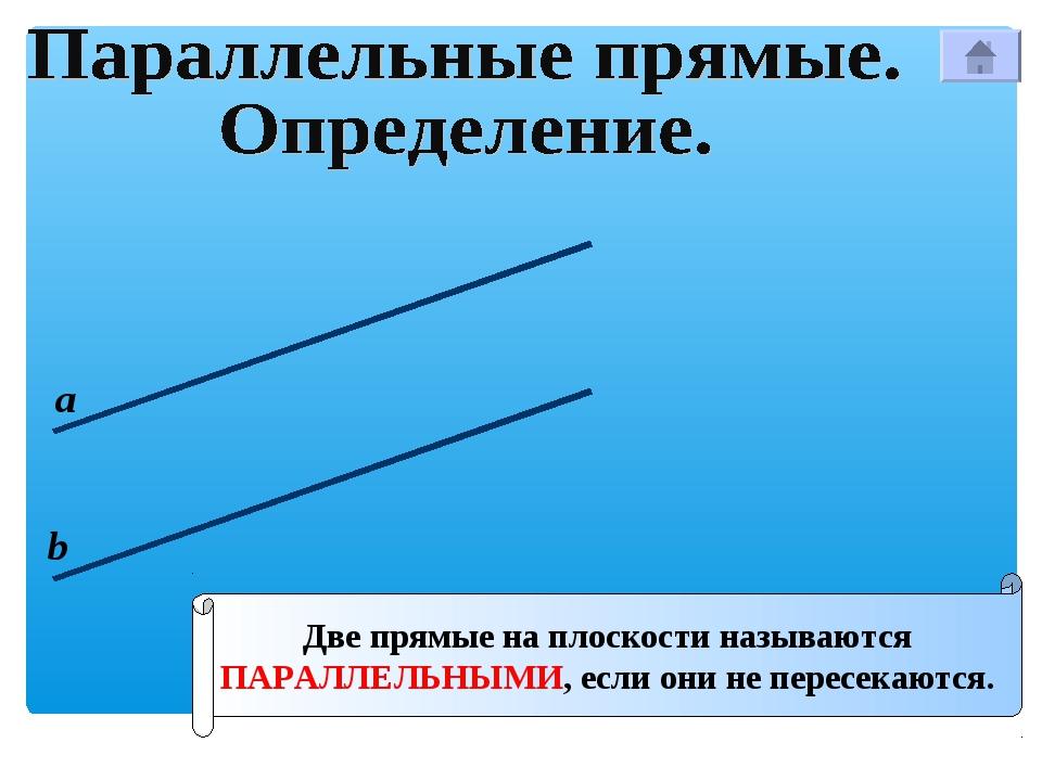 Две прямые на плоскости называются ПАРАЛЛЕЛЬНЫМИ, если они не пересекаются. а b