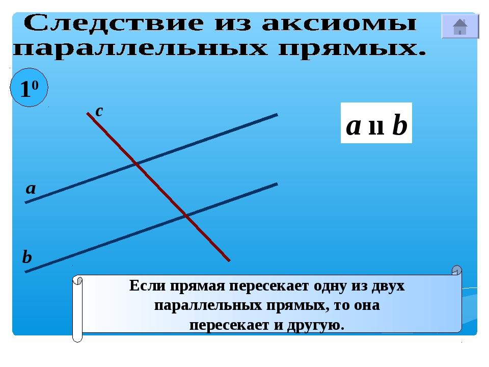 Если прямая пересекает одну из двух параллельных прямых, то она пересекает и...