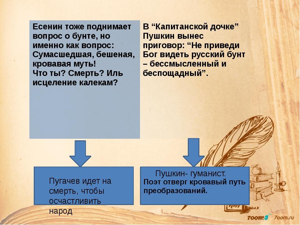 Поэт отверг кровавый путь преобразований. Пушкин- гуманист. Пугачев идет на...