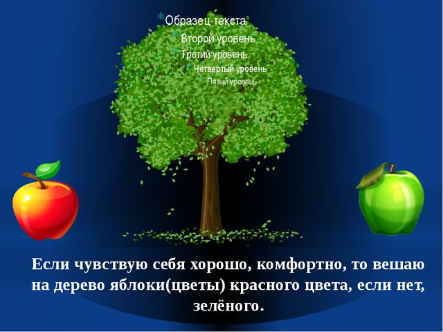 Если чувствую себя хорошо, комфортно, то вешаю на дерево яблоки(цветы) красно...