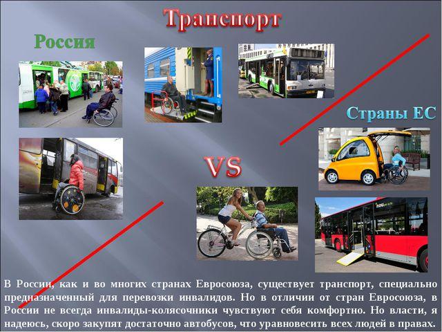 В России, как и во многих странах Евросоюза, существует транспорт, специально...