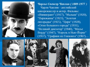 Чарльз Спенсер Чаплин ( 1889-1977) Чарли Чаплин - английский кинорежиссер и