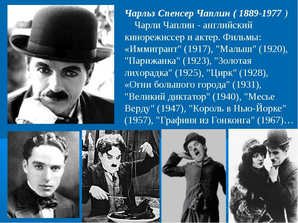 Чарльз Спенсер Чаплин ( 1889-1977) Чарли Чаплин - английский кинорежиссер и...