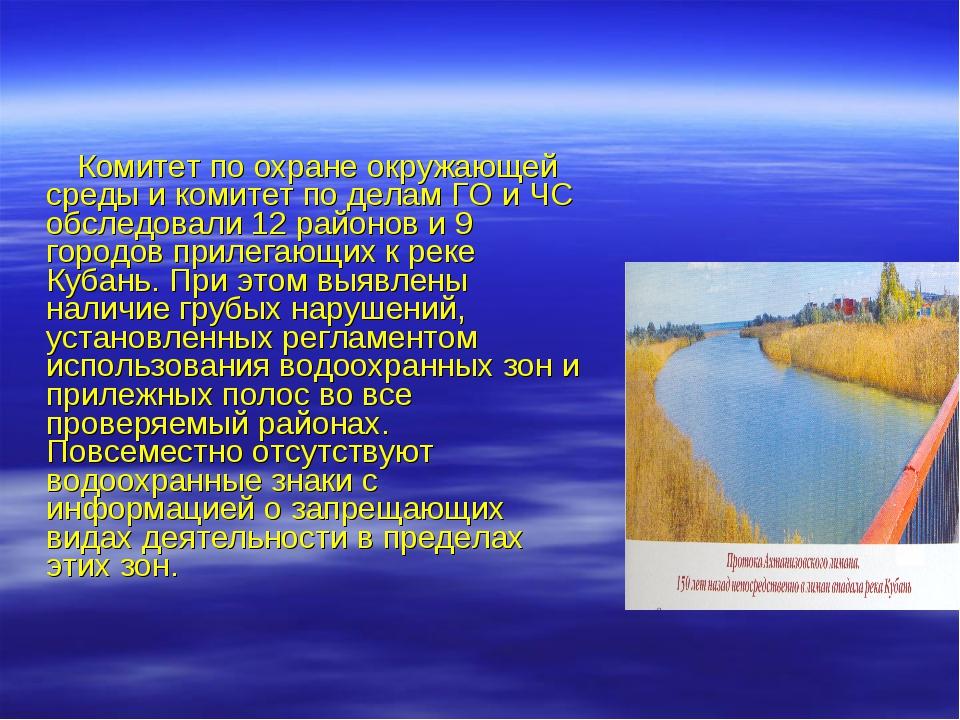 Комитет по охране окружающей среды и комитет по делам ГО и ЧС обследовали 12...